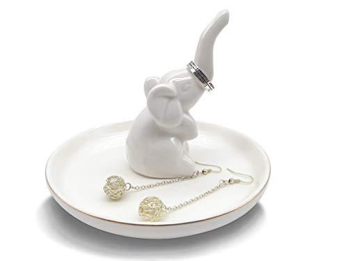 Ring Holder Elephant Jewelry Holder Ceramic Elephant Tray Wedding Trinket Tray for Porcelain Home Decor White