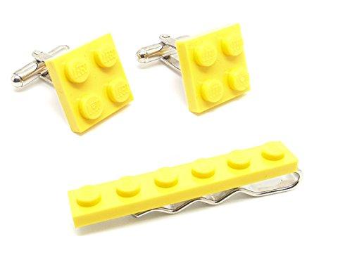 Pince à cravate et boutons de manchette Lego de couleur jaune - Fabriqués par Jeff Jeffers