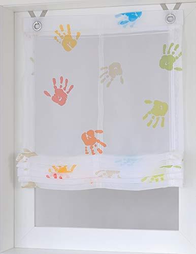 Raffrollo Ösenrollo Kinder Hände Weiss bunt Breite 45 x Höhe 130 cm