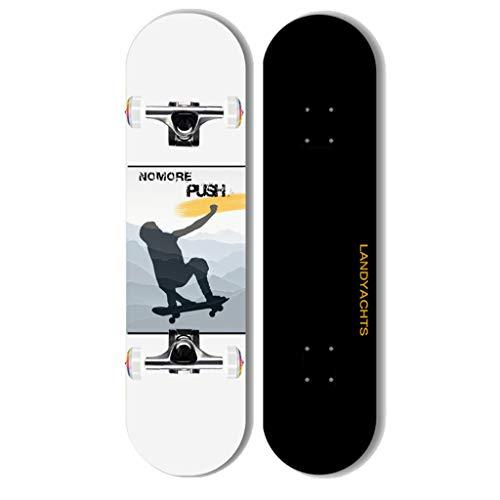 Review HCH Pro 31 Beginners Skateboard Four-Wheel Double Rocker Skateboard Suitable for Beginners A...