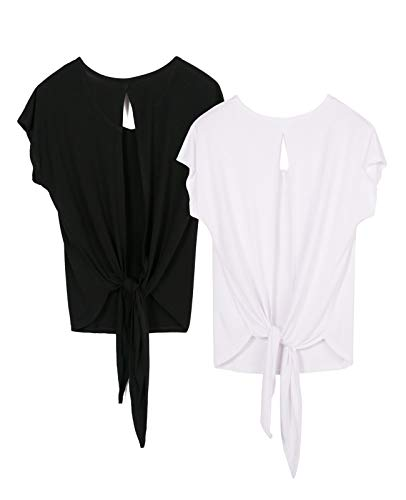 icyzone Damen Rückenfrei Sport T-Shirt Kurzarm Oberteil Yoga Tops Casual Shirt Loose Fit, 2er Pack (L, Black/White)