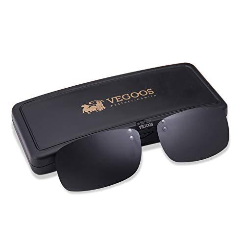VEGOOS Clip on Sunglasses Over Prescription Glasses for Women Men Polarized Flip up Sunglasses with Case Black 59mm