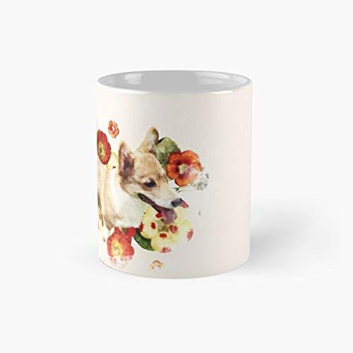 Taza clásica de Corgi y flores rojas amarillas | El mejor regalo divertidas tazas de café de 325 ml