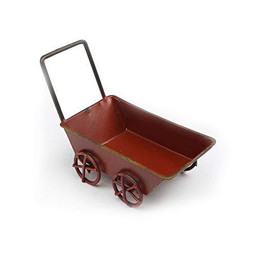 bomiao Retro Modelo de Carro de Jardín, Planta Creativa Maceta Decoración del Hogar Accesorios de Metal Forjado Adornos de Hierro Forjado Carro (Red)