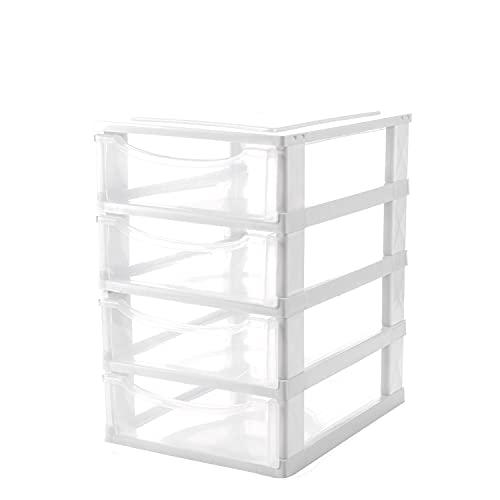 Baroni Home Organiser Cassettiera Ufficio, Organizer Scrivania, Portaoggetti Multiuso in Plastica Colore Bianco 4 Cassetti 26x34x39 cm