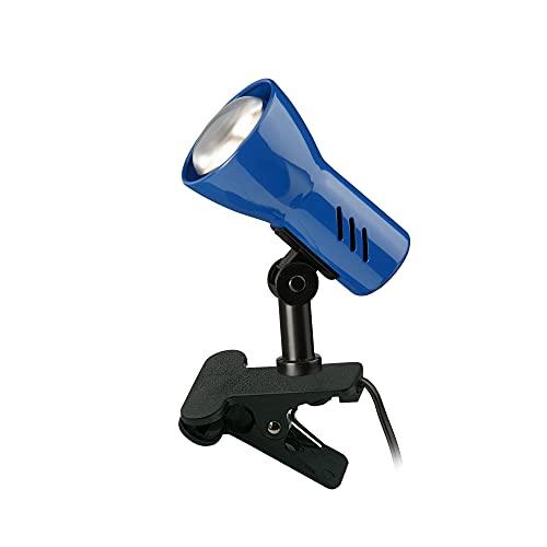 Briloner Leuchten Flexo giratorio con pinza e interruptor de cable, azul, 40 W, metal, 40 W, 2794-010P