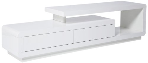 Kare Design TV Board White Club, weiße TV Bank in Hochglanz, TV Kommode, Sideboard, Lowboard mit 2 Schubladen, (H/B/T) 45x170x40cm