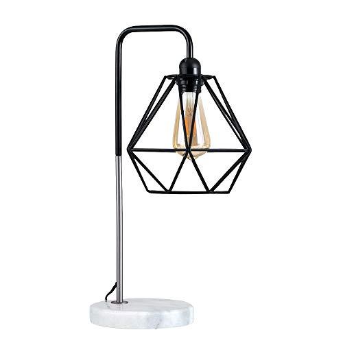MiniSun – Moderne tafellamp met een zwarte en verchroomde afwerking, een witte marmeren lampvoet en een zwarte metalen lampenkap in een open korfontwerp – Retro tafellamp