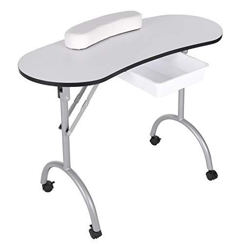 Table De Manucure Pliante Professionnelle Avec Roulettes Tiroirroues Accoudoirs Tiroirs Sacs à Main, Ne Pèse Que 9 Kg/(90 * 40 * 68 Cm)-Blanc