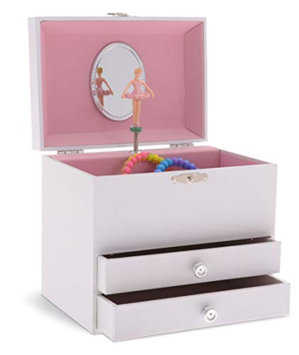 Jewelkeeper Personalize-Your-Own White Musical Ballerina Jewelry Box with 2 Pullout Drawers, You are My Sunshine Tune