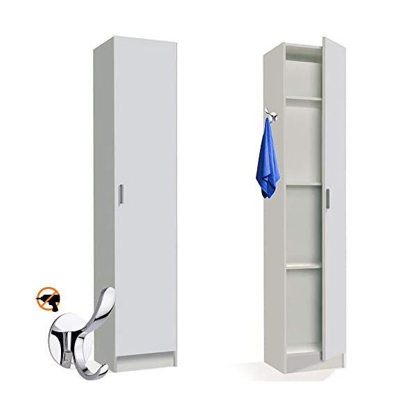 HABITMOBEL Mueble Armario Multiusos Colgador 1 Puerta, Color Blanco, Medidas: 182 x 37 x 37 cm