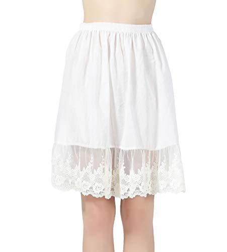 BEAUTELICATE Damen Unterrock 100% Baumwolle Vintage Kurz Halbrock Mit Spitze Stickerei Knielang Dirndl Petticoat  - Lace Style 4 - Gr. L Für EUR (46-48)-55cm Länge