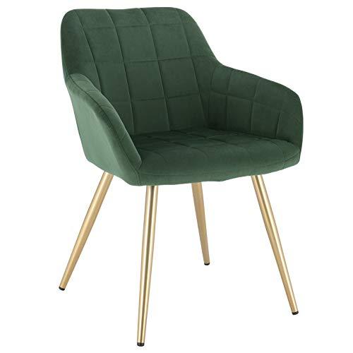 WOLTU® Esszimmerstuhl BH232dgn-1 1 Stück Küchenstuhl Polsterstuhl Wohnzimmerstuhl Sessel mit Armlehne, Sitzfläche aus Samt, Gold Beine aus Metall, Dunkelgrün
