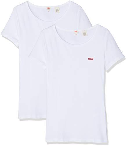 Levi's Damen 2Pack Tee T-Shirt, Weiß (2 Pack White + 0001), Large (Herstellergröße: L)