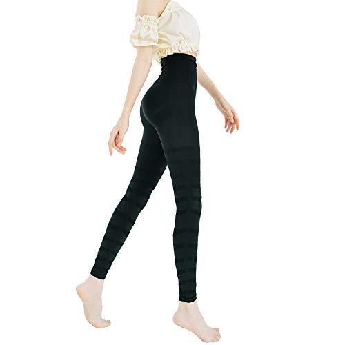 フラミンゴ レギンス ヨガパンツ フィットネスパンツ ブラック 着圧 加圧 美脚 美尻 くびれ 骨盤サポート (M-L(2枚セット))