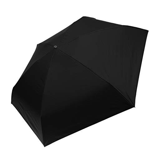 IPOTCH 2in1 Schirm Regenschirm Sturmfest Unisex Kompaktschirme mit Anti-UV Funktion Manuell Auf und Zu für Sommer/Regen - Schwarz