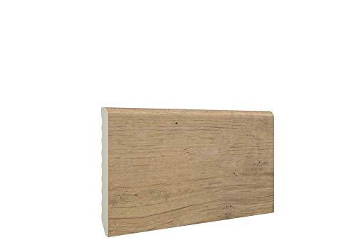 Zócalo - Rodapié de PVC 100% hidrófugo - Antihumedad - Tiras de 2,2 metros lineales - Pack de 10 Tiras - (7cm altura - 1cm grosor, Old Tree)