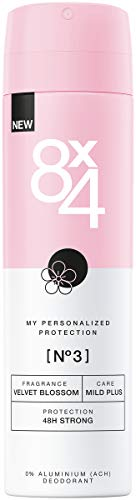 8X4 Deo Spray N°3 Velvet Blossom (150 ml), Damen Deodorant mit fruchtig-floralem Duft, Deo ohne Aluminium für sensible Haut