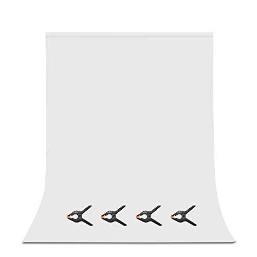 UTEBIT Fondo Fotografía 6x9FT / 1.8x2.8M Fondo Blanco de Fotografía de Muselina Plegable Fondo Blanco Lavable Soild con 4 Abrazaderas para Fotografía de Vídeo y Televisión