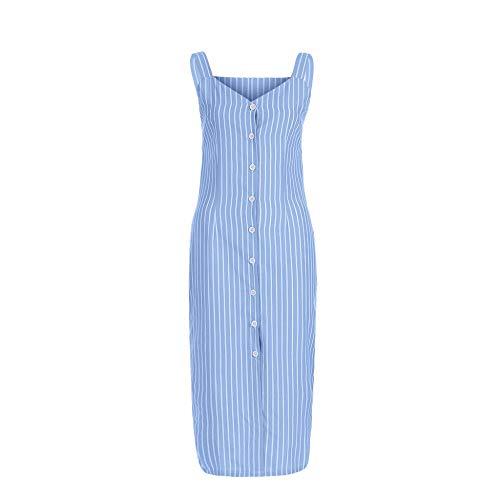 KKMAOMAO Schlingenkleid Damen,Gestreifter Druck Ärmellos Urlaub Blau Damen Kleid Party Kleid Bleistift Lässige Kleidung Lady Fashion Einfacher Joker Europa Bild L