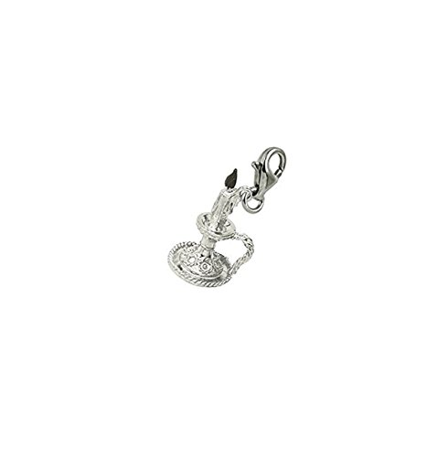 Sterling Silver Candle Charm With Lobster Claw Clasp, Charms for Bracelets and Necklaces