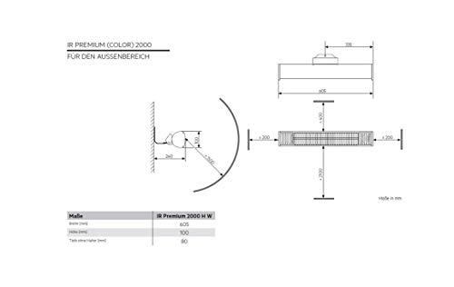 AEG Terrassen-Heizstrahler IR Premium 2000 H W, 2 kW, hochheffiziente Qualitäts-Goldröhre, weiß, 234788 - 2