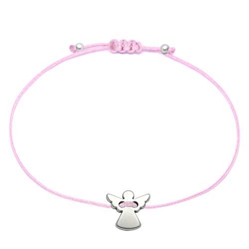 Schutzengel Armband - Silber Schutzengelchen auf Rosa Textilband von SelfmadeJewelry als Glücksbringer