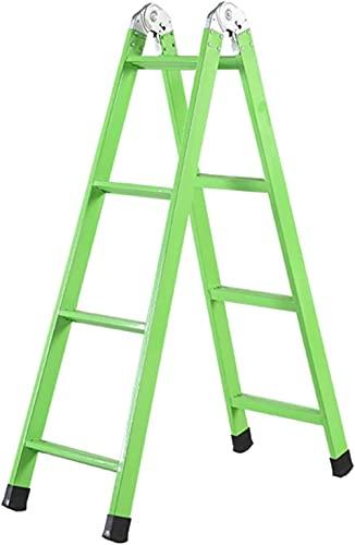 LILAODA Giallo e Verde Home 4 Step Ladder Antiscivolo Portable Pieghevole Punte Punte Scolara Ospedale in Acciaio al Carbonio Doppio Lato Step Scaletta-41 * 101 * 149cm_Verde Perfect