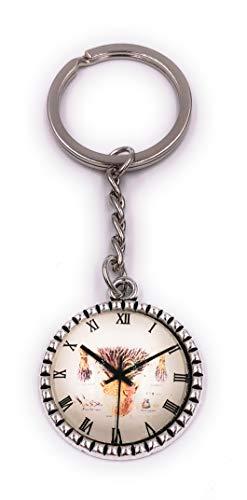H-Customs Uhr im Kreis Schlüsselanhänger Anhänger aus Metall