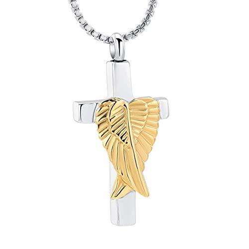 KBFDWEC Joyería de urna de cremación Alas de ángel Colgante de urna Cruzada Restos conmemorativos Cenizas Collar de Recuerdo Plata Oro