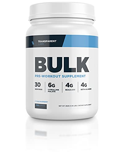 Transparent Labs Bulk Pre Workout, Contains Anhydrous Caffeine, L-Citrulline, and Theobromine, Gluten-Free, Non-GMO, No Sweeteners, for Muscle Growth, Tropical Punch - 30 Servings