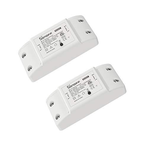 SONOFF BASICR2 2PCS 10A Interruttore Intelligente Luce Wireless WiFi, Modulo Universale Fai-da-te per Soluzioni di Automazione della Casa Intelligente, è Compatibile con Amazon Alexa e Google Home