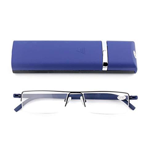Ultralichte TR90 leesbril voor heren en dames, klassiek metaal, halfronde bril, smalle stijl, leeshulp met etui en brillenpoetsdoek +2.5 blauw