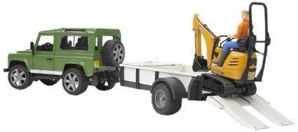Bruder 2593 - Todoterreno Land Rover Defender con Remolque, cargadora pequeña y Trabajador