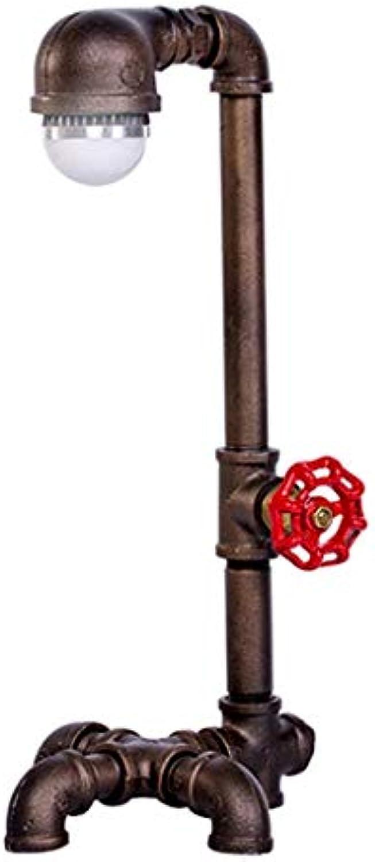 Tischlampe Schmiedeeisen Tischlampe, personalisierte Wasserpfeife LOFT Tischlampe Studie Schlafzimmerlampe Studie Eye Lampe Retro Schmiedeeisen Pipe Tischlampe Augenschutz (Farbe  Bronze-28x15cm)