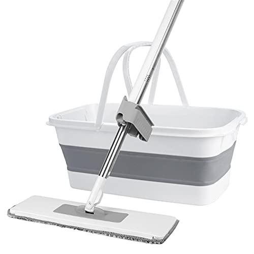 Zestaw mop podłogowych i wiadro, Bezpłatna ręka Mypa z zestawem wiadra Składany Leniwy Drewniany Mop Squeeze Flat Mop Automatyczny Spin Floor Mops Household Cleaning Tool (Color : 8pcs with bucket)