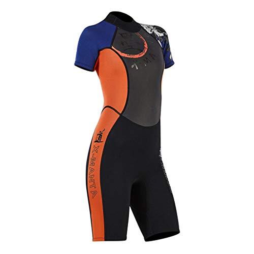 sharprepublic Damen Tauch Neoprenanzug Einteiliger 3mm Overall Shorty Dive Skin Shorts Shortie - Schwarz, XL