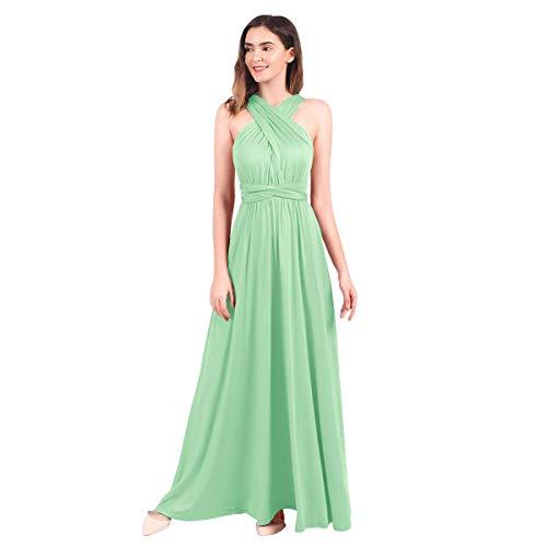 FYMNSI, abito lungo estivo da donna, vestito da sera a vestaglia, con scollatura a V e allacciatura sulla schiena, adatto per matrimoni, feste, aperitivi, spiaggia, verde chiaro, XS
