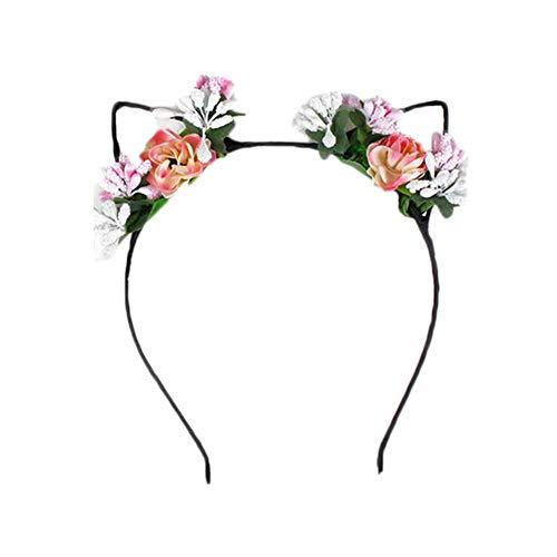 Cosanter Rosen Blumenstirnband Damen Mädchen Blume Haarreif Haarband wie Katzenohren rosa