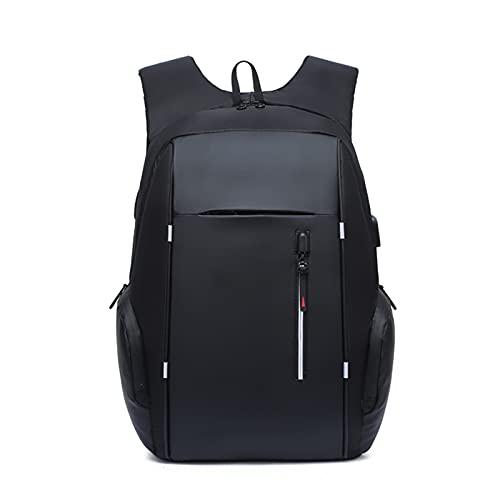 HJUIK Mochila impermeable para hombre de 15,6 pulgadas de gran capacidad USB de carga para la escuela para adolescentes (color: negro, tamaño: 30 x 15 x 43 cm)