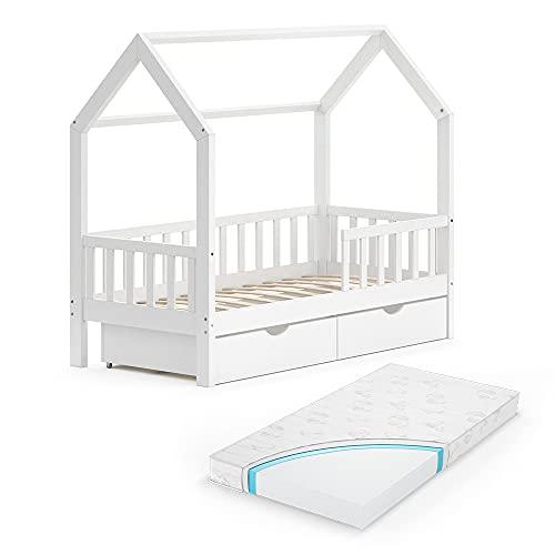 VitaliSpa Kinderbett Hausbett Spielbett Wiki 80x160 inkl Lattenrost (Weiß, mit Schubladen & Matratze)