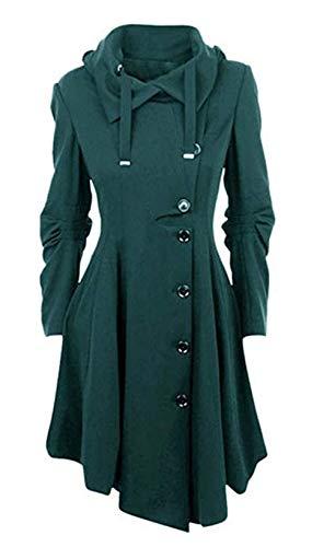 Vertvie Damen Mantel Kleid Lang Elegant Winter Gotik Asymmetrische Jacke(5XL/EU 48-50, Grün)
