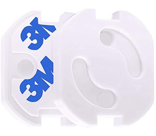 Keroos Kindersicherung für Steckdosen mit Drehmechanik, Steckdosenschutz Steckdosensicherung Baby Kleinkinder 3M Klebepads (10/20 Stück) (20 Stück)