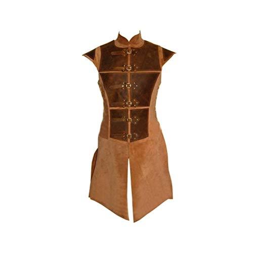 Herren Sleeveless Lederweste Frühling Herbst Mittelalter Classic Vintage Classic Vest Outerwear Partei Abend Slim Fit Westen Cosplay Mäntel Jungs (Color : Brown, Size : M)