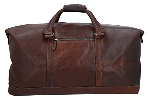 Travel Bag Leather Women Men Large - Gusti Ruben 36L Hand Luggage Weekender Light Chocolate Brown