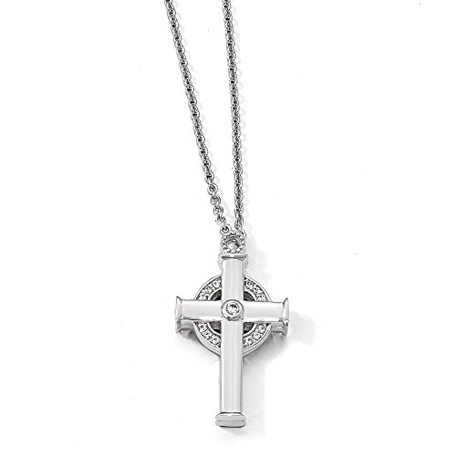 Sterling Silver Created W. Sapphire Magnet Celtic Cross 20 in Necklace