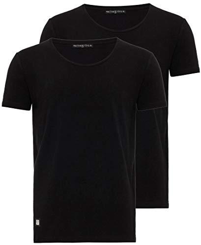Herren T-Shirt 2er Pack mit weitem Rundhals Regular Fit 2X Schwarz L