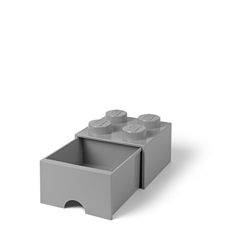 Room Copenhagen 4005 Lego Ladrillo 4 pomos, 1 cajón, Caja de almacenaje apilable, 4,7l, Gris (Stone Grey), 25 x 25 x 18 cm