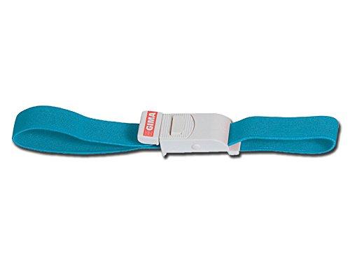 GIMA ref. 25726 Torniquete Fast de algodón y goma, sin látex, cordón hemostático de color azul, largo 40.5cm, ancho 3cm, sistema único de bloqueo con liberación instantánea
