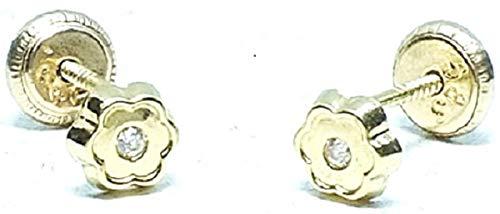 Pendientes oro 18k recien nacida bebe niña o mujer, aretes diseño flor de 6 petalos con circon engastada y cierre de rosca de maxima seguridad
